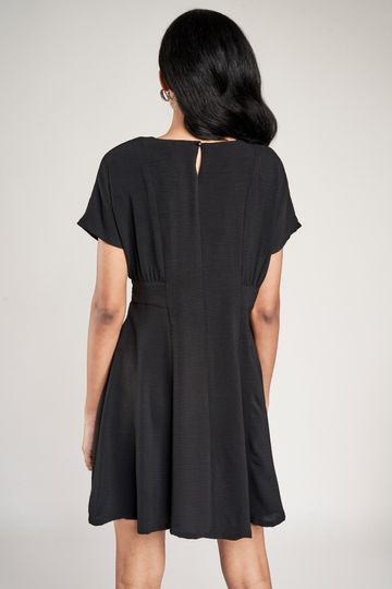 AND | Black Solid Fit And Flare Dress