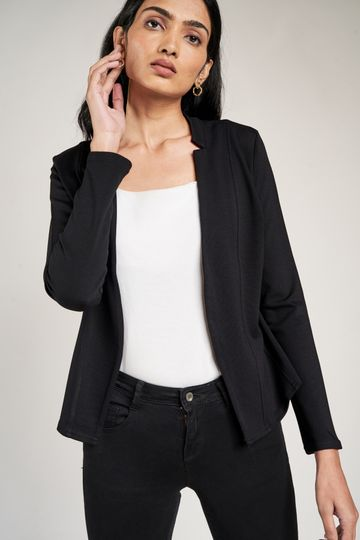 AND | Black Solid Fit And Flare Jacket