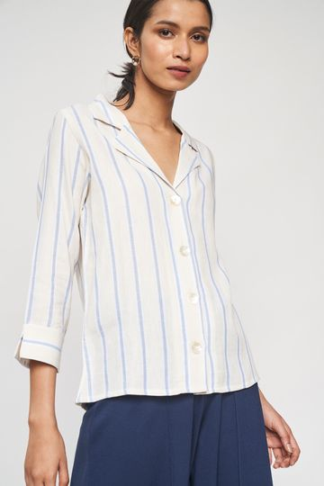 AND | Beige Striped Printed A-Line Top