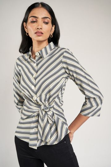 AND | Black and White Striped Printed Fit And Flare Top