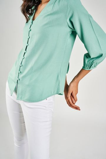 AND | Sage Green Solid A-Line Top