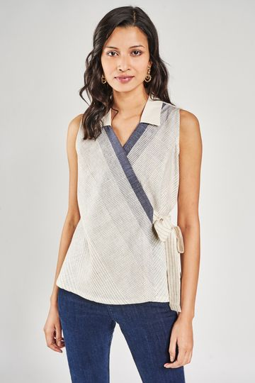 AND | Natural Striped A-Line Top