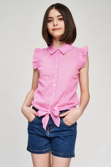 AND | Pink Checked Printed Shirters Top
