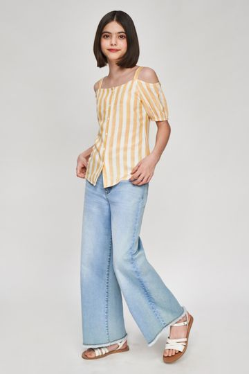 AND | Yellow Striped Printed Shirters Top