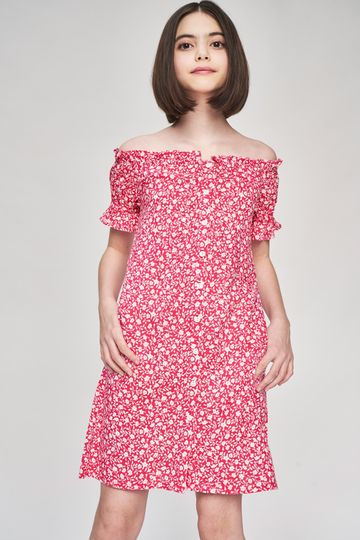 AND | Pink Floral Printed Fit And Flare Dress