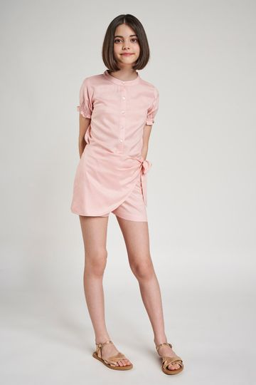 AND | Pink Solid Shirters Co-Ordinate  Set