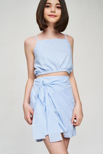 AND | Blue Checked Printed Cropped Co-Ordinate  Set