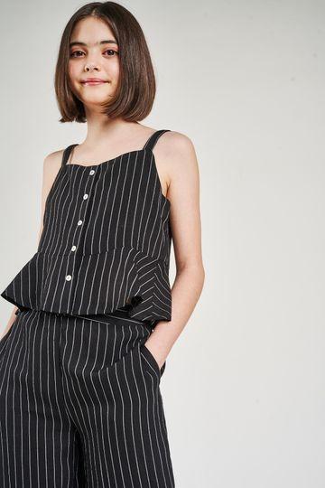 AND | Black Striped Printed Shirters Co-Ordinate  Set