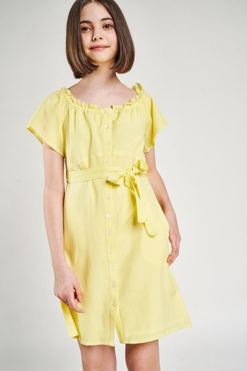 AND | Yellow Solid Fit And Flare Dress