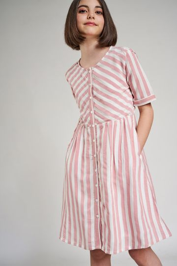 AND | Pink Striped Printed Fit And Flare Dress