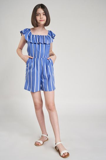 AND | Blue Striped Printed Fit And Flare Jumpsuit