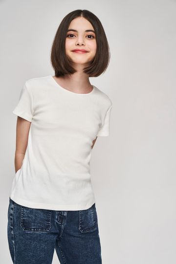 AND | White Solid A-Line Top