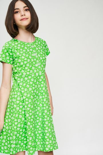 AND | Green Floral Printed Fit And Flare Dress