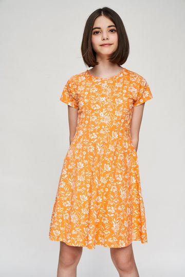 AND | Orange Floral Printed Fit And Flare Dress