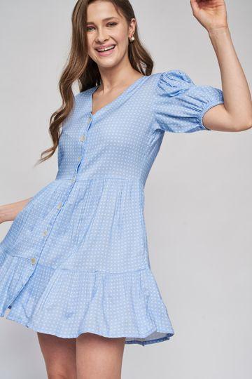 AND | Powder Blue Short Length Polka Dots Dress