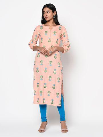 ANTARAN | Pink Printed Straight Kurta