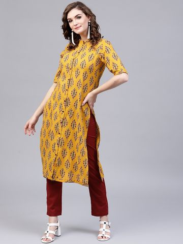 ANTARAN | Antaran Yellow Printed Kantha Work Straight Kurta With Solid Pant Set