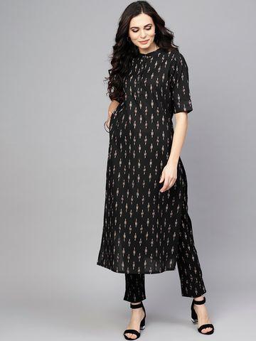 ANTARAN | Antaran Black Ikat Printed Straight Kurta With Pant Set