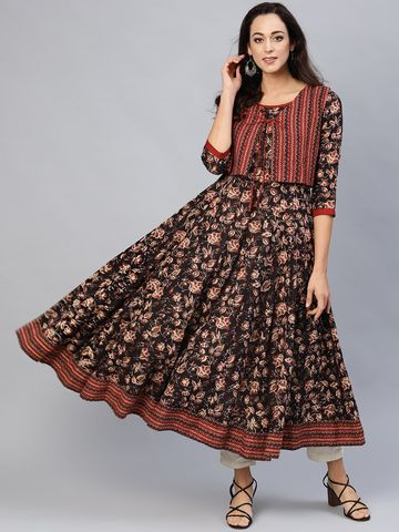 ANTARAN | Women Coffee Brown & Maroon Printed Anarkali Kurta with Ethnic Jacket