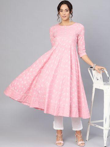 ANTARAN | Women Pink & White Khari Print Anarkali Kurta