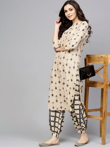 ANTARAN | Women Beige & Grey Printed Kurta with Salwar