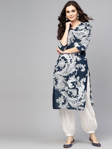 ANTARAN | Women Navy Blue & White Printed Kurta with Salwar