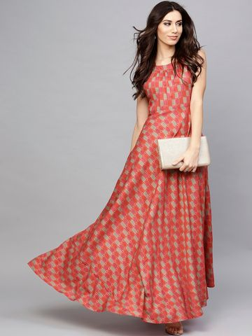 ANTARAN | Women Red Printed Maxi Dress