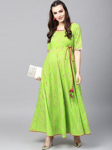 ANTARAN | Women Green & Magenta Leheriya Print Anarkali Kurta