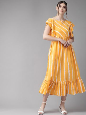 ANTARAN | Women Mustard Yellow & White Striped A-Line Dress
