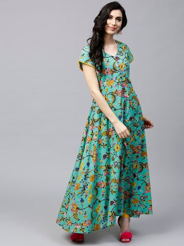 ANTARAN | Women Green & Yellow Floral Print Anarkali Kurta