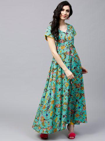 ANTARAN | Women Green & Yellow Floral Print Anarkali Kurta