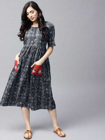 ANTARAN | Women Grey Printed Fit and Flare Dress