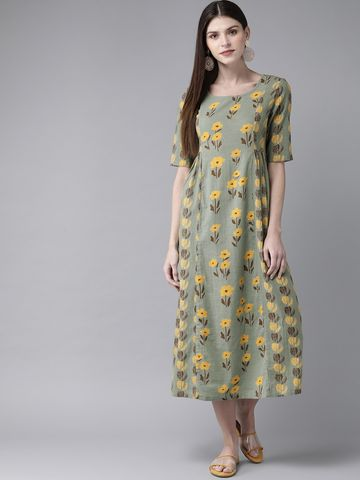 ANTARAN | Women Green & Yellow Printed A-Line Dress