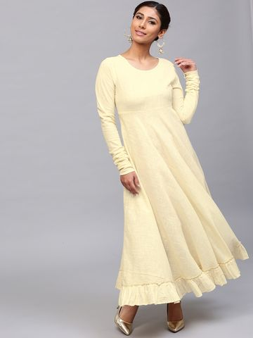 ANTARAN | Women Yellow Solid Anarkali Kurta