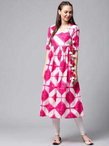 ANTARAN | Women White & Pink Printed Anarkali Kurta