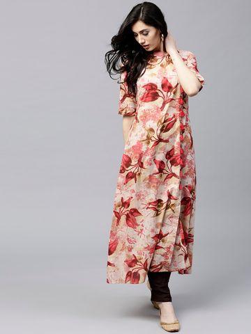 ANTARAN | Women Red & Beige Floral Print A-Line Kurta