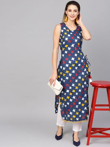 ANTARAN | Women Navy Blue & Off-White Printed Straight Kurta