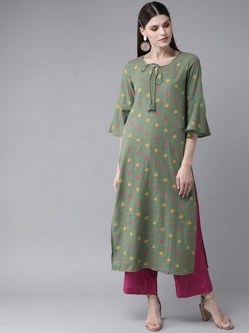 ANTARAN | Women Green & Yellow Printed Straight Kurta