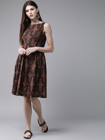 ANTARAN | Women Black & Maroon Printed A-Line Dress