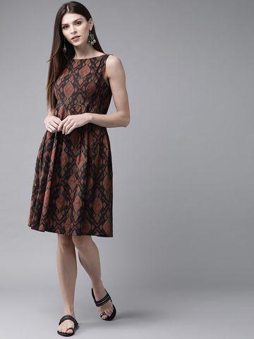 ANTARAN | Women Black & Maroon Printed A-Line Dress