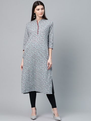 ANTARAN | Women Grey & Maroon Printed Straight Kurta