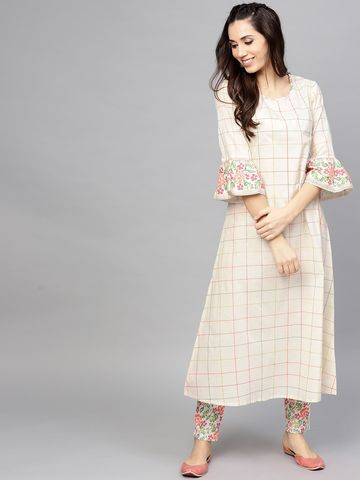 ANTARAN | Women Off-White Checked A-Line Kurta