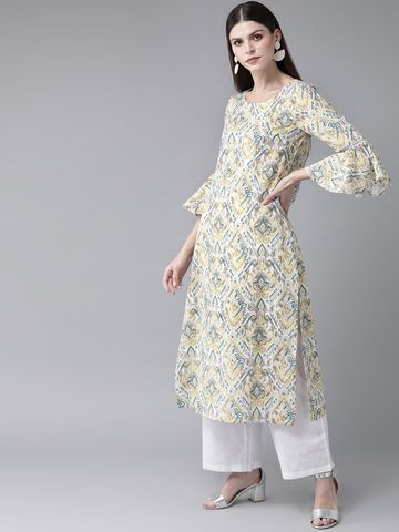 ANTARAN | Women White & Grey Printed Straight Kurta