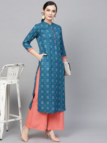ANTARAN | Women Teal Blue Printed Straight Kurta