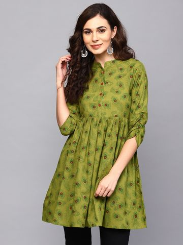 ANTARAN | Women Green Printed Tunic