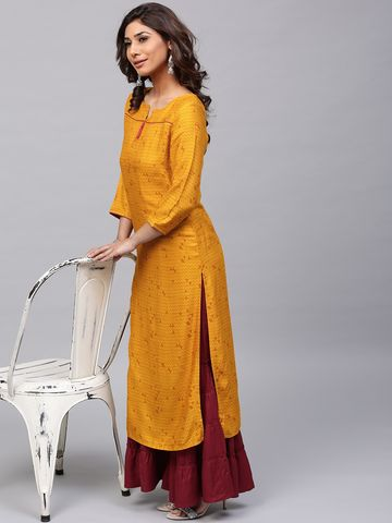 ANTARAN | Women Mustard Yellow Printed Straight Kurta