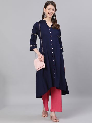 ANTARAN | Antaran Women High Low Dark Blue Dress