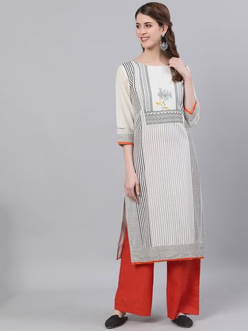 ANTARAN | Antaran Women Striped Straight Kurta