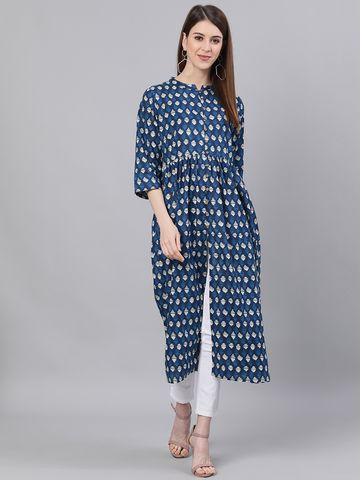 ANTARAN | Women Printed Pure Cotton A-line Kurta  (Blue)