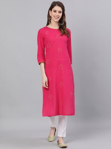 ANTARAN | Antaran Women Embroidered Straight Kurta